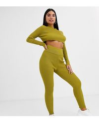 Missguided Co-ord Ribbed Trouser In Khaki - Green