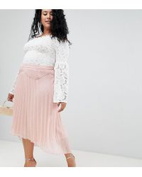 d92a92c41 ASOS - Asos Design Curve Dobby Pleated High Low Midi Skirt With Pintuck  Detail - Lyst