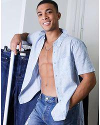 Abercrombie & Fitch Camicia a maniche corte con stampa geometrica, colore blu