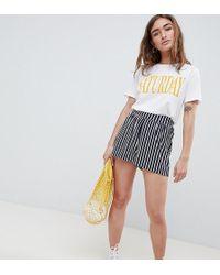 ASOS - Asos Design Petite Culotte Shorts In Easy Stripe - Lyst