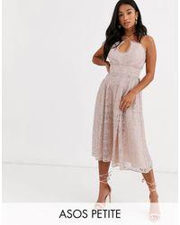 ASOS Asos Design Petite Cami Strap Midi Prom Dress - Pink