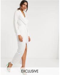 Flounce London Drape Plunge Maxi Dress - White