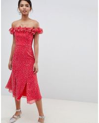 Keepsake Ruffle Bardot Midi Dress In Polkadot - Red
