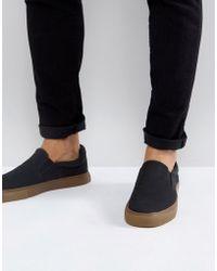 ASOS - Zapatillas de lona negras sin cierres con suela de goma de - Lyst