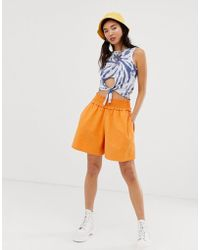 ASOS Smocking Detail Short - Orange