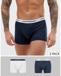 Emporio Armani Set Van 2 Boxershorts Met Logo - Blauw