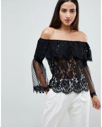 Club L - Bardot Lace Top With Polka Dot Mesh Frill Sleeve Arms - Lyst