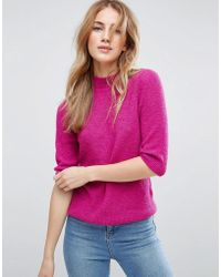 ASOS Jumper In Boucle With Half Sleeve - Pink