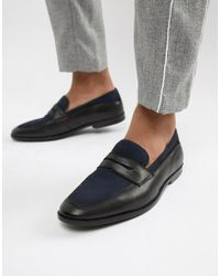 ASOS Loafers In Black Leather And Navy Suede