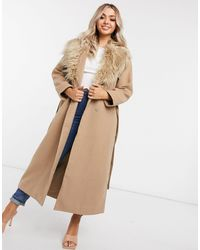 NA-KD Faux Fur Collar Coat - Natural