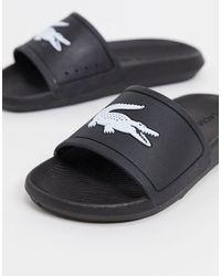 Lacoste - Черно-белые Шлепанцы С Логотипом -черный Цвет - Lyst