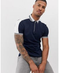 ASOS Organic Zip Neck Polo Shirt With Tipping And Contrast Shoulder Panel - Blue