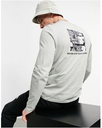 The North Face - Серый Лонгслив С Логотипом Distorted - Lyst