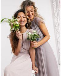 TFNC London Bridesmaid Lace Sleeve Maxi Dress - Pink