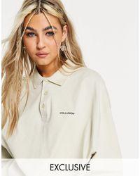 Collusion – Oversize-Polohemd aus schwerem Jerseystoff - Weiß
