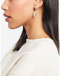 ASOS Earrings With Jewel Stud And Happy Face Pearl - Metallic