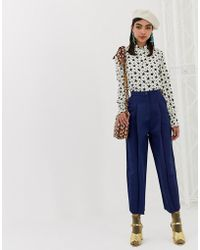 Sister Jane Tailored Pants In Luxe Satin - Blue