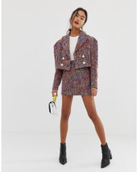 ASOS Pop Boucle Mini Suit Skirt - Multicolour