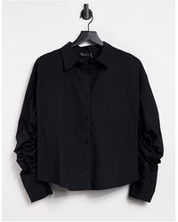 ASOS Cotton Shirt With Channel Open Back Detail - Black