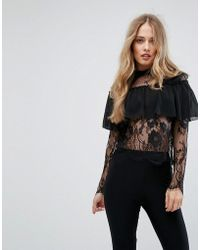 Club L - Lace High Neck Overlay Frill Top - Lyst