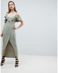 Ivyrevel Robe longue style cache-cœur à épaules nues - Vert