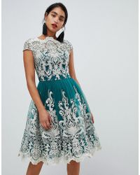 Chi Chi London Premium Metallic Lace Midi Prom Dress In Emerald - Green