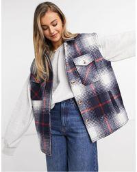 Pieces Brushed Sleeveless Jacket - Blue