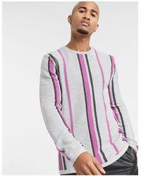 ASOS – Grauer Pullover mit Längsstreifen