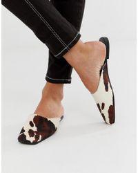 Mango - Cow Print Effect Leather Slip On Mule In Brown - Lyst