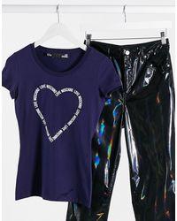 Love Moschino - Футболка С Логотипом В Виде Сердца -синий - Lyst