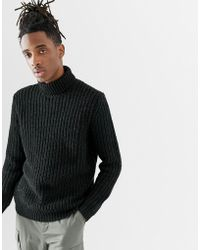 10e6b799e ASOS - Heavyweight Fisherman Rib Roll Neck Sweater In Black - Lyst