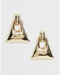 ASOS - Earrings With Smooth Doorknocker Drop In Gold Tone - Lyst
