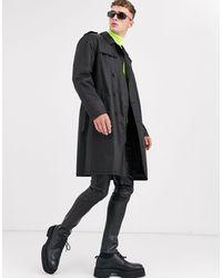 ASOS – Zweireihiger Trenchcoat aus Kunstleder - Schwarz