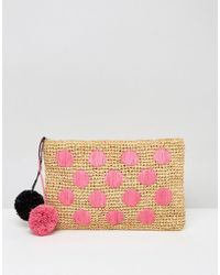 ASOS Beach Straw Spot Clutch Bag With Poms - Pink