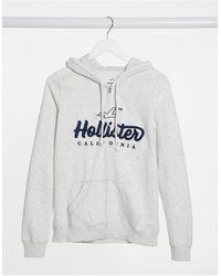 Hollister Худи Светло-серого Цвета На Молнии -зеленый