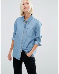 ASOS - Denim Shirt In Cali Light Wash - Lyst