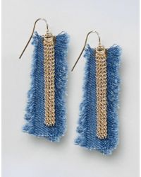 ASOS - Limited Edition Denim Frayed Earrings - Lyst