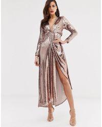 ASOS Асимметричное Платье Макси С Глубоким Вырезом И Пайетками -золотистый - Розовый