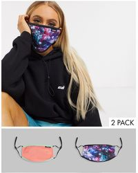 Hype Lot de 2 masques en tissu à bandes ajustablles et imprimés variés, en exclusivité - Multicolore
