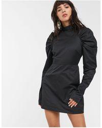 Glamorous Robe droite courte à manches bouffantes structurées - Noir