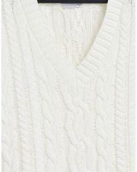 Bershka Вязаный «косами» Жилет Кремового Цвета С V-образным Вырезом -белый