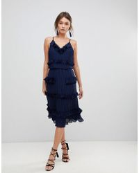 True Decadence - Premium Pleated Ruffle Skater Dress - Lyst