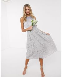 Oasis Bridesmaid Lace Skater Dress - Grey