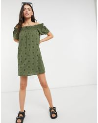 Accessorize Cold Shoulder Dress - Green