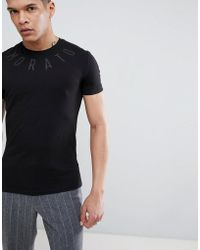 Antony Morato - T-shirt In Black With Neck Print - Lyst