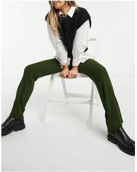 Fashionkilla Широкие Трикотажные Брюки Цвета Хаки -зеленый Цвет
