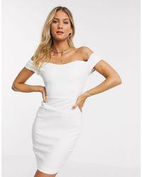 Vesper Платье Мини Кремового Цвета С Открытыми Плечами -кремовый - Белый