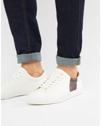 Pull&Bear - White Trainer With Burgundy Side Stripe - Lyst