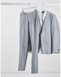 Rudie Linen Slim Fit Suit Trousers - Metallic