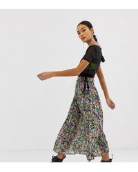 Collusion - Sheer Pleated Printed Skirt - Lyst